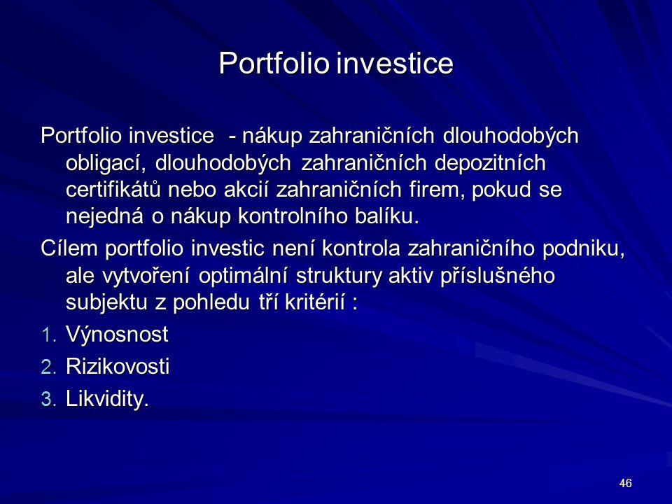 Portfolio investice Portfolio investice - nákup zahraničních dlouhodobých obligací, dlouhodobých zahraničních depozitních certifikátů nebo akcií zahra
