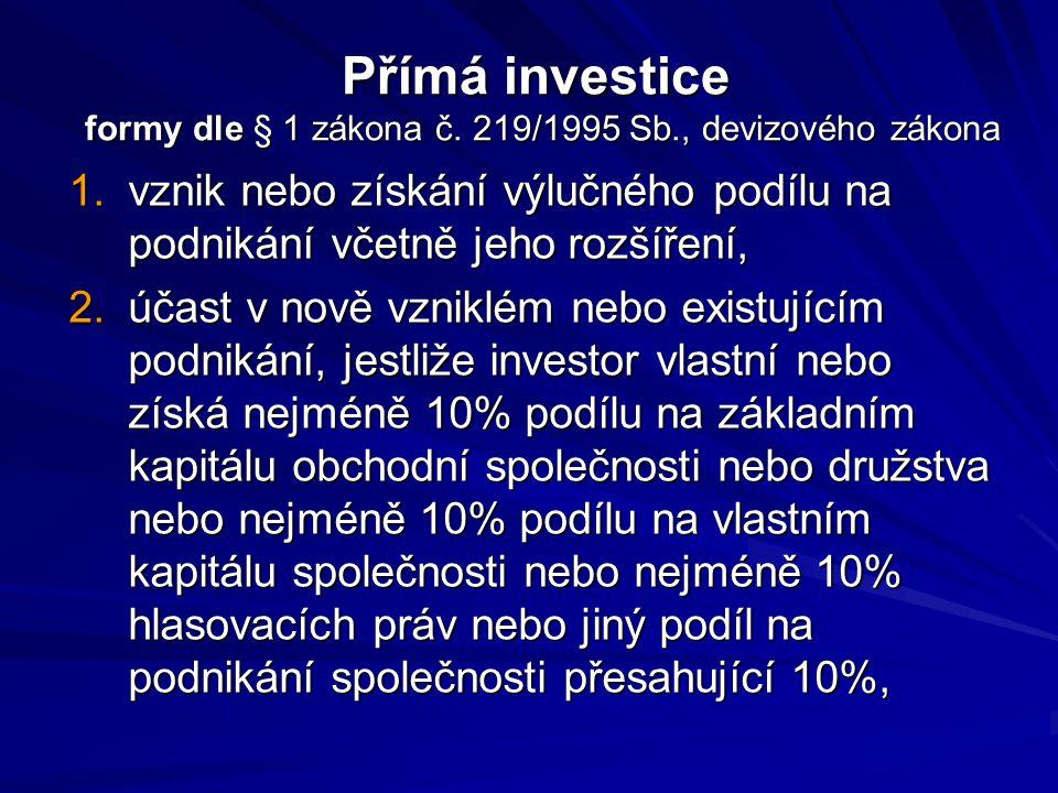Přímá investice formy dle § 1 zákona č. 219/1995 Sb., devizového zákona 1.vznik nebo získání výlučného podílu na podnikání včetně jeho rozšíření, 2.úč
