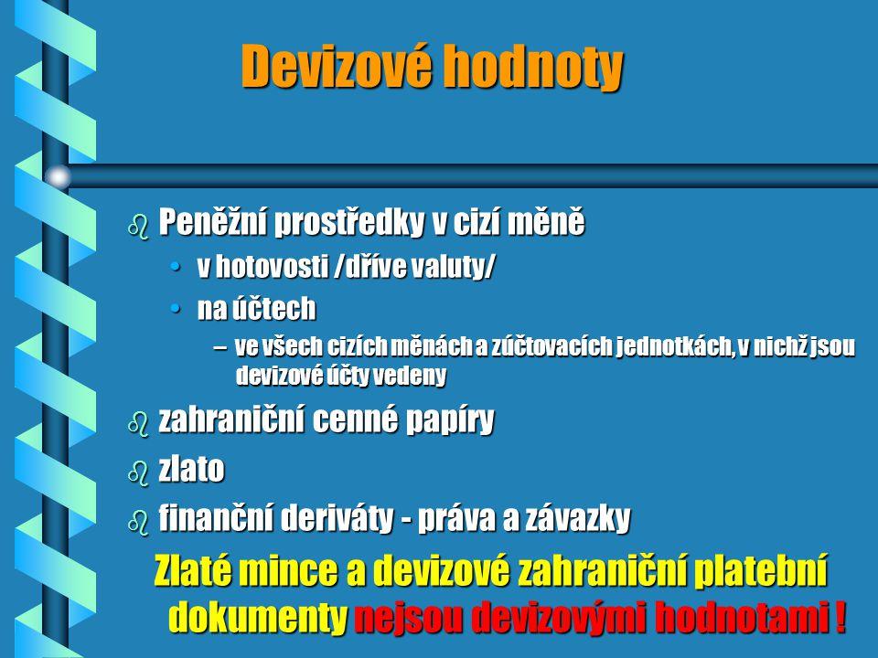 Devizové hodnoty b Peněžní prostředky v cizí měně v hotovosti /dříve valuty/v hotovosti /dříve valuty/ na účtechna účtech –ve všech cizích měnách a zúčtovacích jednotkách, v nichž jsou devizové účty vedeny b zahraniční cenné papíry b zlato b finanční deriváty - práva a závazky Zlaté mince a devizové zahraniční platební dokumenty nejsou devizovými hodnotami !