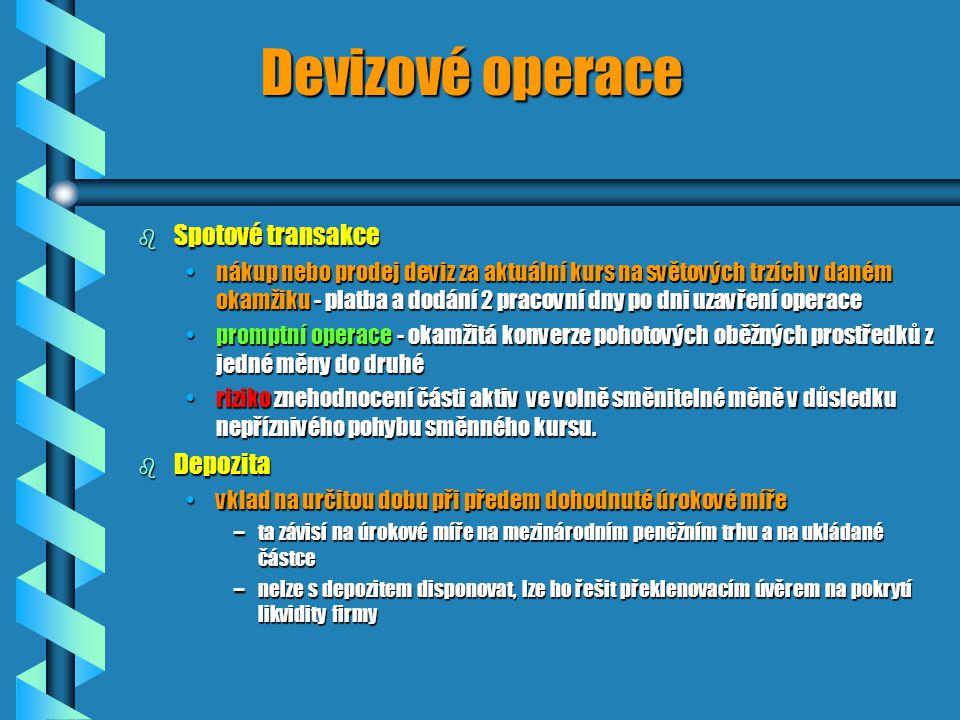 Devizové operace b Spotové transakce nákup nebo prodej deviz za aktuální kurs na světových trzích v daném okamžiku - platba a dodání 2 pracovní dny po dni uzavření operacenákup nebo prodej deviz za aktuální kurs na světových trzích v daném okamžiku - platba a dodání 2 pracovní dny po dni uzavření operace promptní operace - okamžitá konverze pohotových oběžných prostředků z jedné měny do druhépromptní operace - okamžitá konverze pohotových oběžných prostředků z jedné měny do druhé riziko znehodnocení části aktiv ve volně směnitelné měně v důsledku nepříznivého pohybu směnného kursu.riziko znehodnocení části aktiv ve volně směnitelné měně v důsledku nepříznivého pohybu směnného kursu.