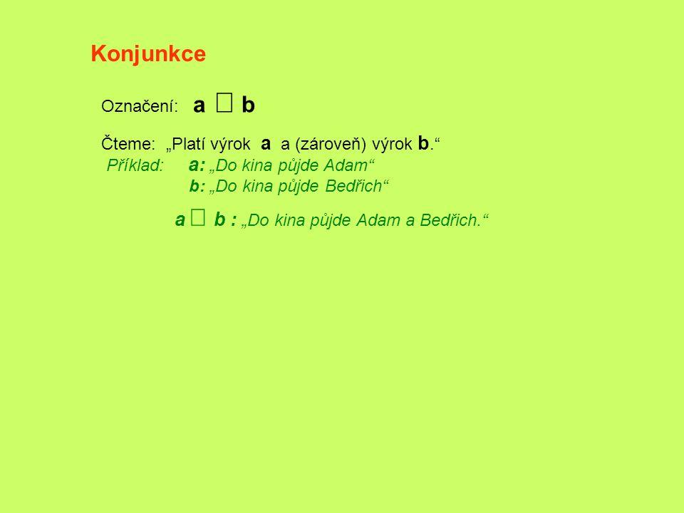 """Konjunkce Označení: a  b Čteme: """"Platí výrok a a (zároveň) výrok b."""" Příklad: a: """"Do kina půjde Adam"""" b: """"Do kina půjde Bedřich"""" a   b : """"Do kina"""