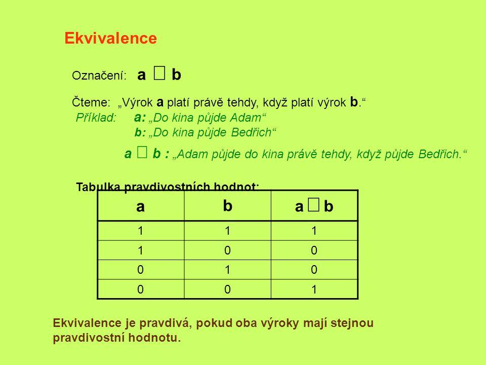 """Ekvivalence Označení: a  b Čteme: """"Výrok a platí právě tehdy, když platí výrok b."""" Příklad: a: """"Do kina půjde Adam"""" b: """"Do kina půjde Bedřich"""" a """