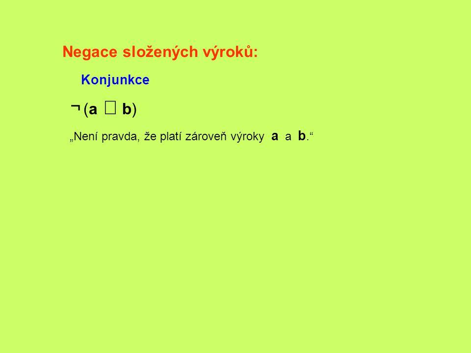 """Negace složených výroků: Konjunkce ¬ (a  b) """"Není pravda, že platí zároveň výroky a a b."""""""