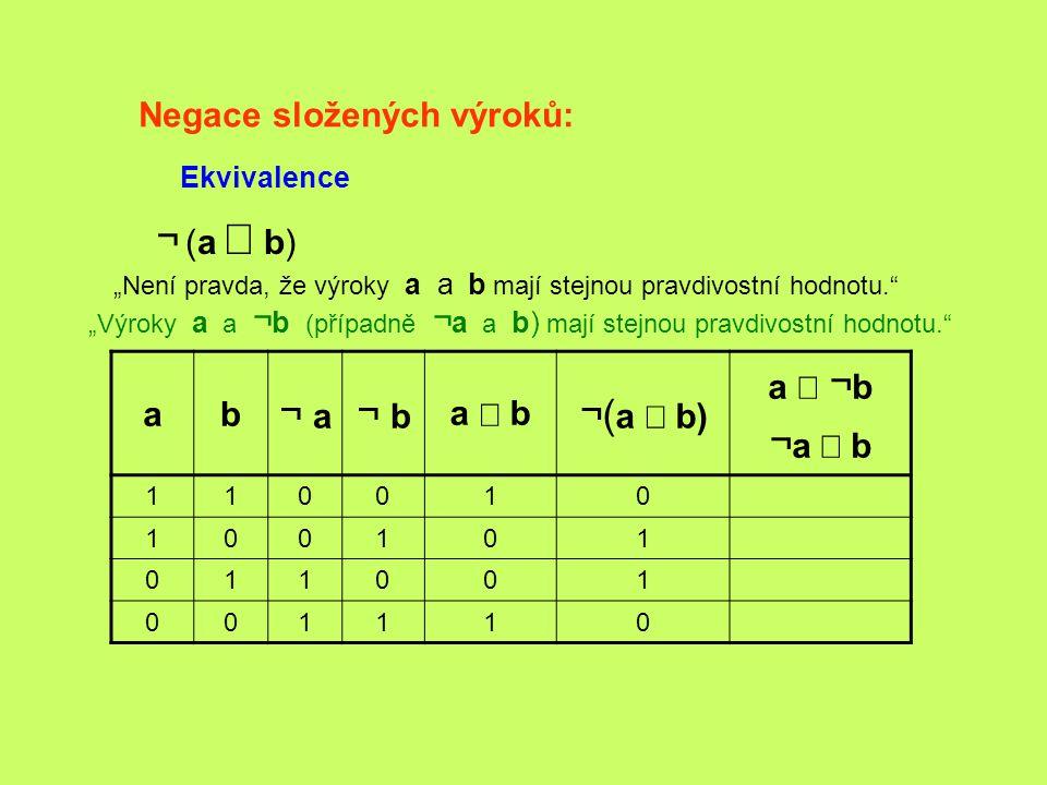 """Negace složených výroků: Ekvivalence ¬ (a  b) """"Není pravda, že výroky a a b mají stejnou pravdivostní hodnotu."""" """"Výroky a a ¬ b (případně ¬ a a b) m"""