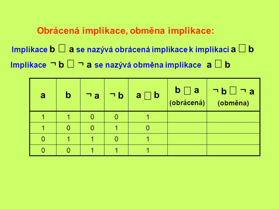 Obrácená implikace, obměna implikace: ab ¬ a ¬ b a  b b  a (obrácená) ¬ b  ¬  a (obměna) 11001 10010 01101 00111 Implikace ¬ b  ¬  a se nazý