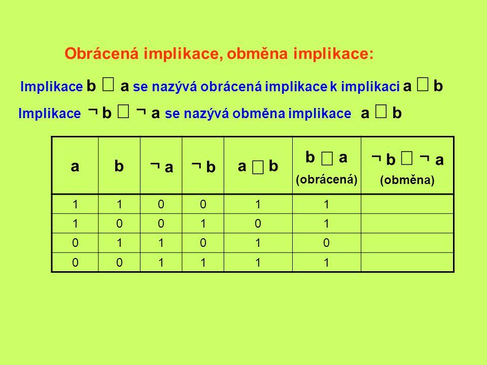 Obrácená implikace, obměna implikace: ab ¬ a ¬ b a  b b  a (obrácená) ¬ b  ¬  a (obměna) 110011 100101 011010 001111 Implikace ¬ b  ¬  a se