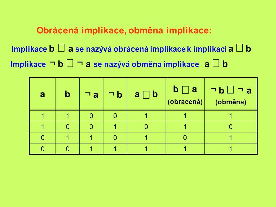 Obrácená implikace, obměna implikace: ab ¬ a ¬ b a  b b  a (obrácená) ¬ b  ¬  a (obměna) 1100111 1001010 0110101 0011111 Implikace ¬ b  ¬  a