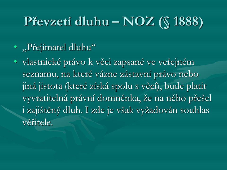 """Převzetí dluhu – NOZ (§ 1888) """"Přejímatel dluhu""""""""Přejímatel dluhu"""" vlastnické právo k věci zapsané ve veřejném seznamu, na které vázne zástavní právo"""