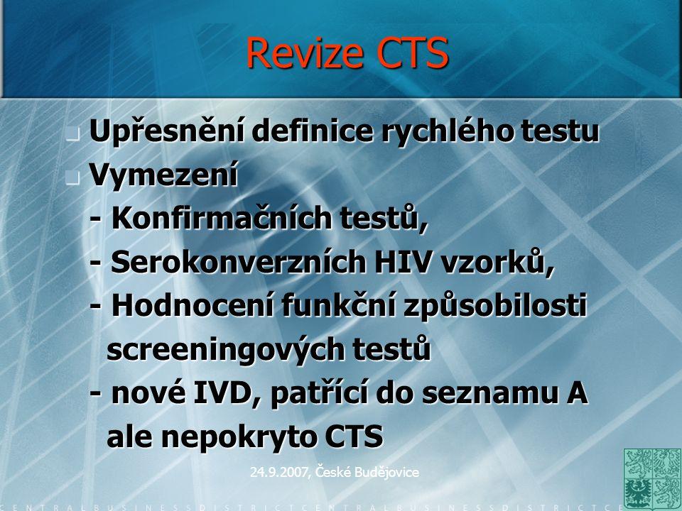 24.9.2007, České Budějovice Revize CTS Upřesnění definice rychlého testu Upřesnění definice rychlého testu Vymezení Vymezení - Konfirmačních testů, -