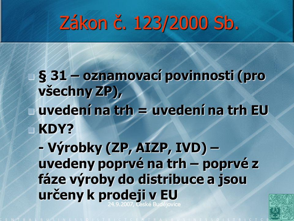 24.9.2007, České Budějovice Zákon č. 123/2000 Sb. § 31 – oznamovací povinnosti (pro všechny ZP), § 31 – oznamovací povinnosti (pro všechny ZP), uveden