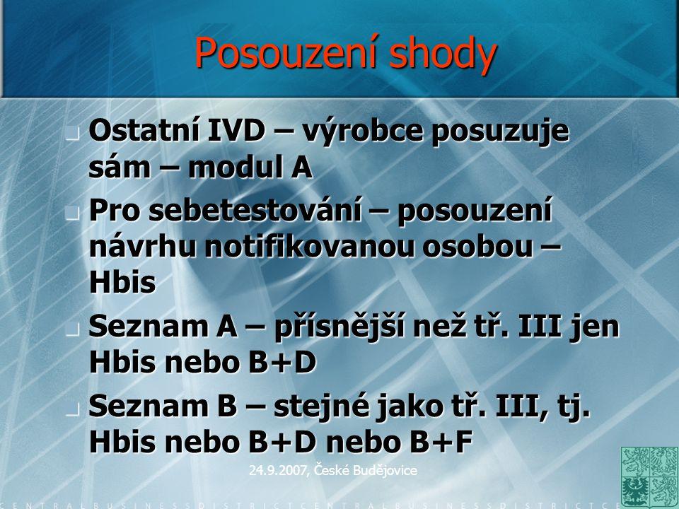 24.9.2007, České Budějovice Oznamování IVD KDO oznamuje IVD.