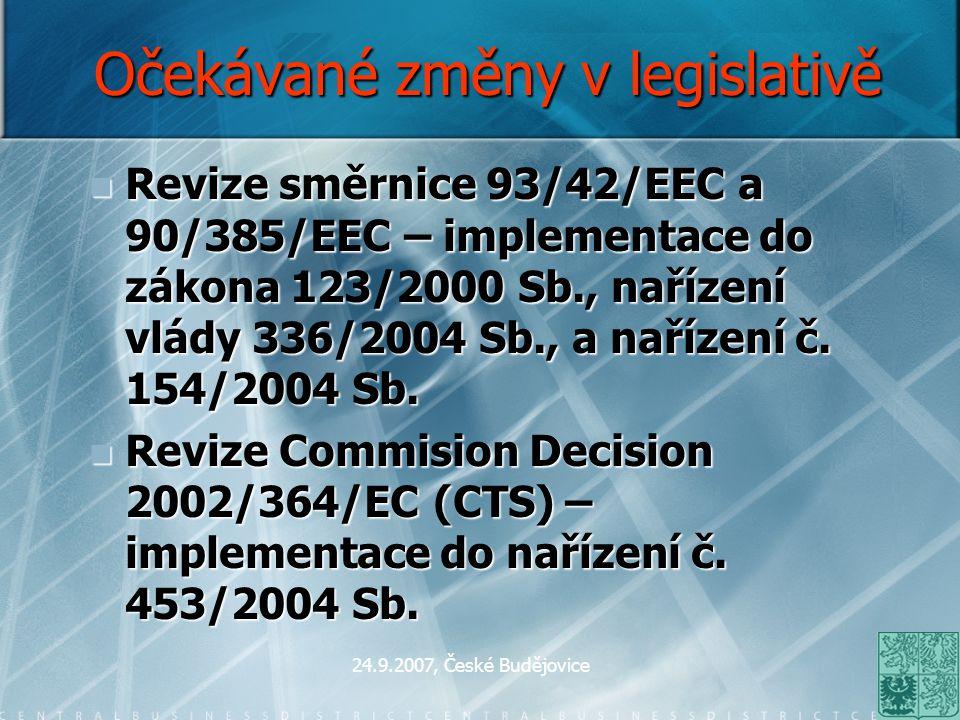 24.9.2007, České Budějovice Očekávané změny v legislativě Revize směrnice 93/42/EEC a 90/385/EEC – implementace do zákona 123/2000 Sb., nařízení vlády