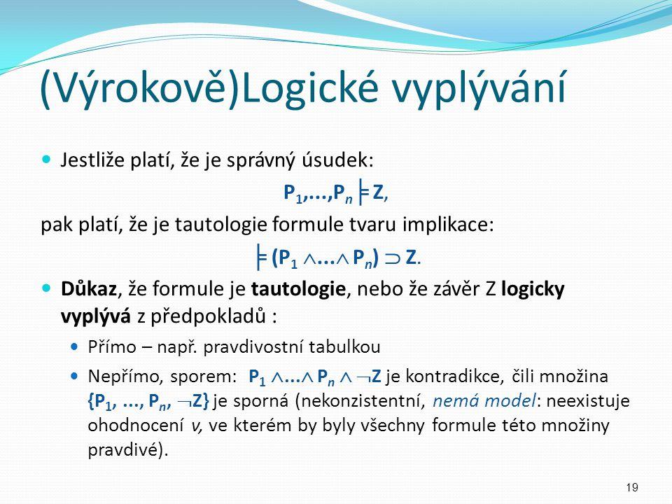 Jestliže platí, že je správný úsudek: P 1,...,P n ╞ Z, pak platí, že je tautologie formule tvaru implikace: ╞ (P 1 ...  P n )  Z. Důkaz, že formule
