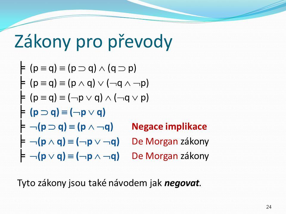 Zákony pro převody ╞ (p  q)  (p  q)  (q  p) ╞ (p  q)  (p  q)  (  q   p) ╞ (p  q)  (  p  q)  (  q  p) ╞ (p  q)  (  p  q) ╞  (p