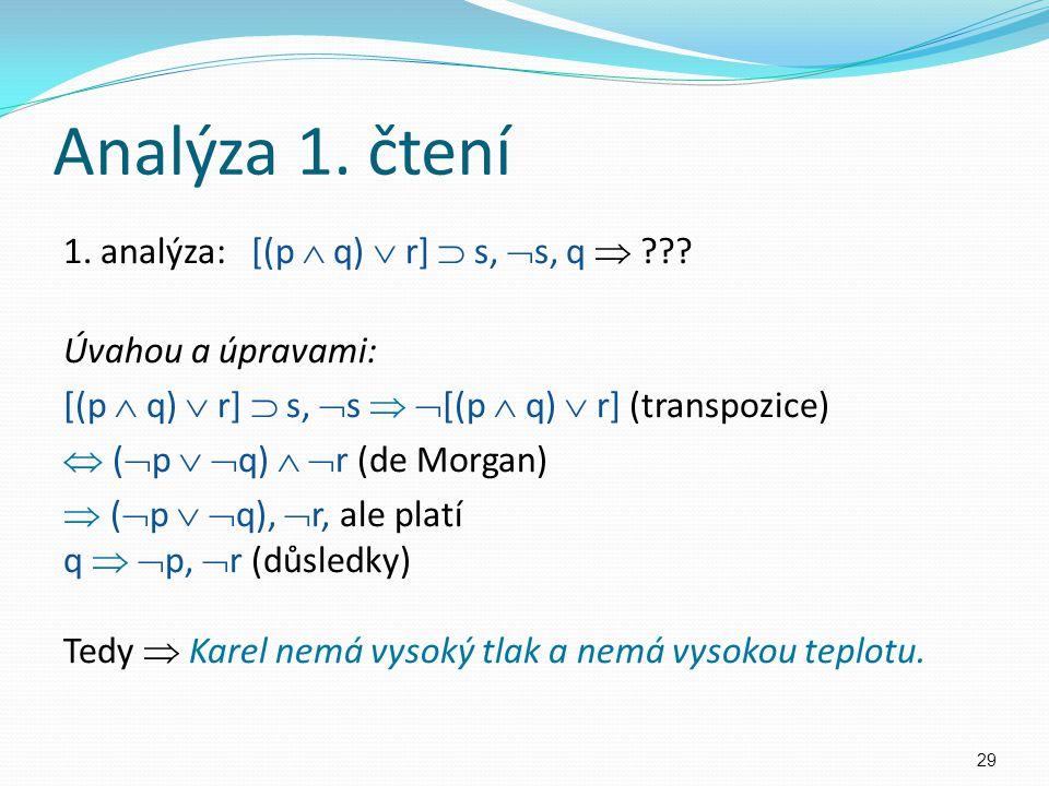 1. analýza: [(p  q)  r]  s,  s, q  ??? Úvahou a úpravami: [(p  q)  r]  s,  s   [(p  q)  r] (transpozice)  (  p   q)   r (de Morgan)
