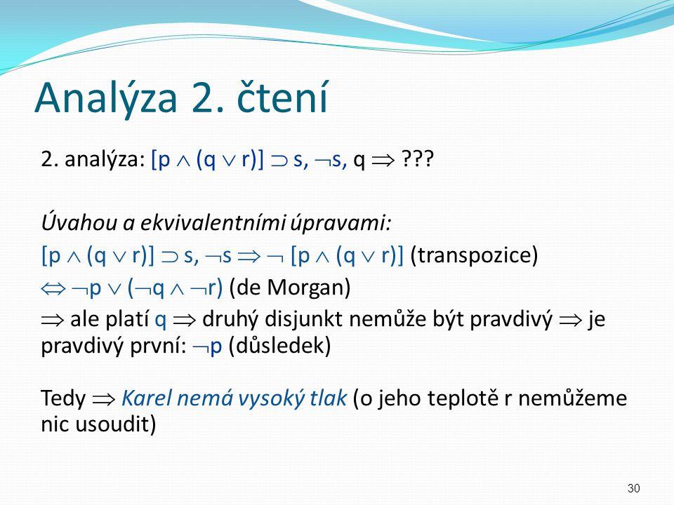 2. analýza: [p  (q  r)]  s,  s, q  ??? Úvahou a ekvivalentními úpravami: [p  (q  r)]  s,  s   [p  (q  r)] (transpozice)   p  (  q  