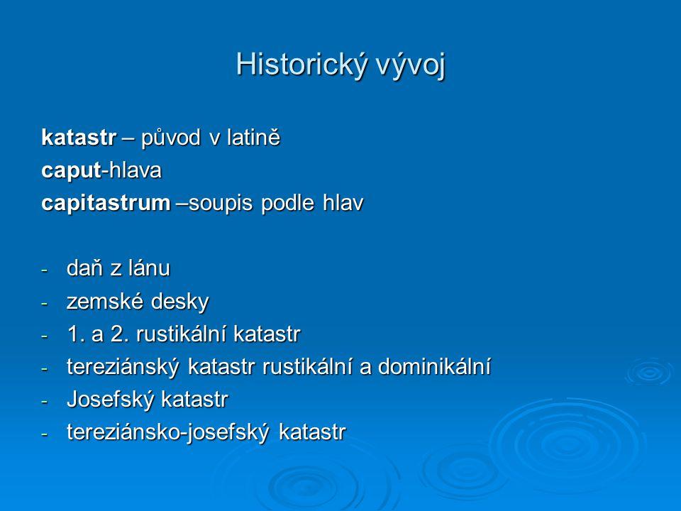 Historický vývoj katastr – původ v latině caput-hlava capitastrum –soupis podle hlav - daň z lánu - zemské desky - 1. a 2. rustikální katastr - terezi