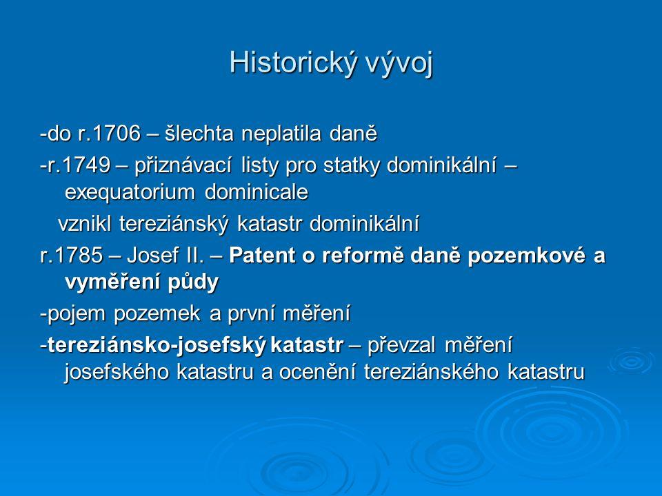 Historický vývoj -do r.1706 – šlechta neplatila daně -r.1749 – přiznávací listy pro statky dominikální – exequatorium dominicale vznikl tereziánský ka