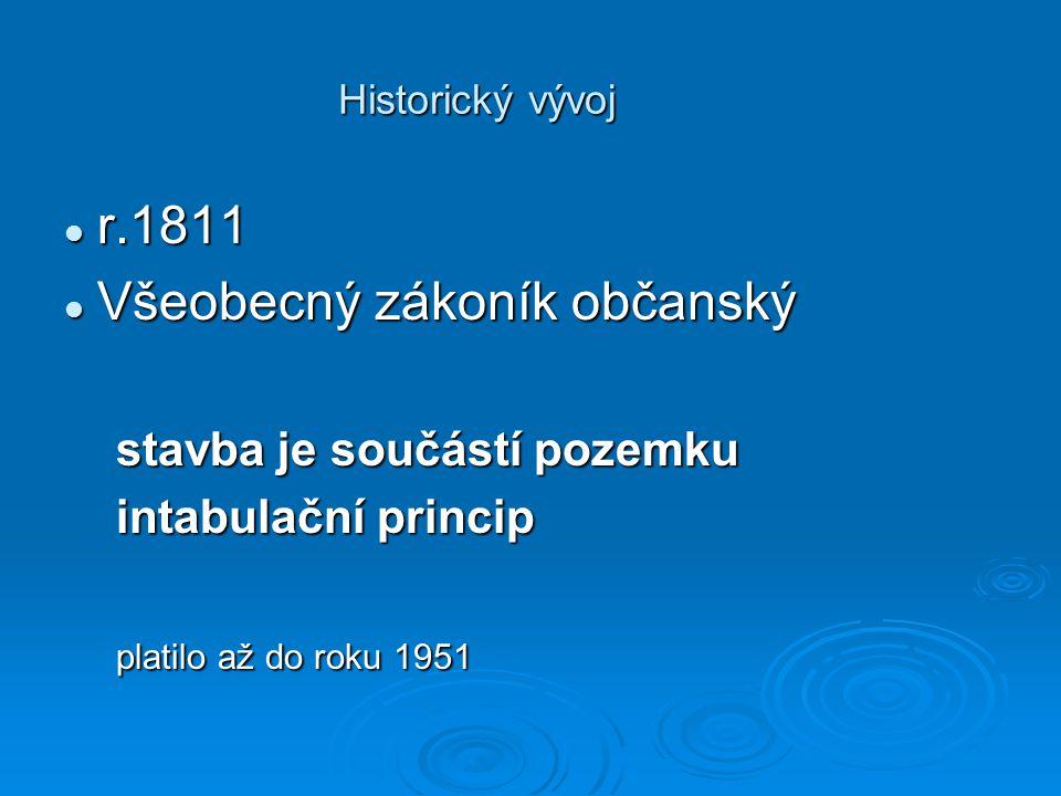 Historický vývoj r.1811 r.1811 Všeobecný zákoník občanský Všeobecný zákoník občanský stavba je součástí pozemku stavba je součástí pozemku intabulační