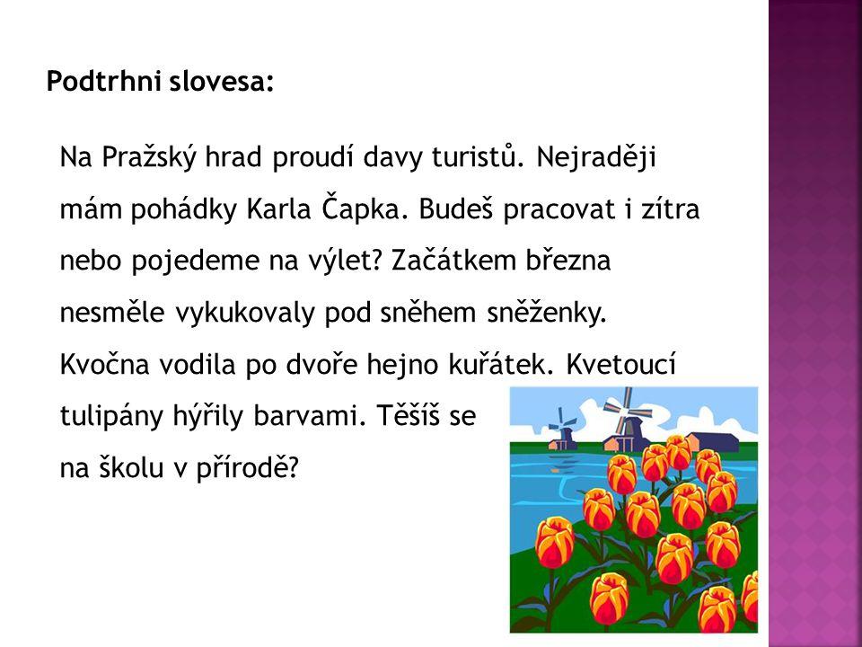 Podtrhni slovesa: Na Pražský hrad proudí davy turistů. Nejraději mám pohádky Karla Čapka. Budeš pracovat i zítra nebo pojedeme na výlet? Začátkem břez