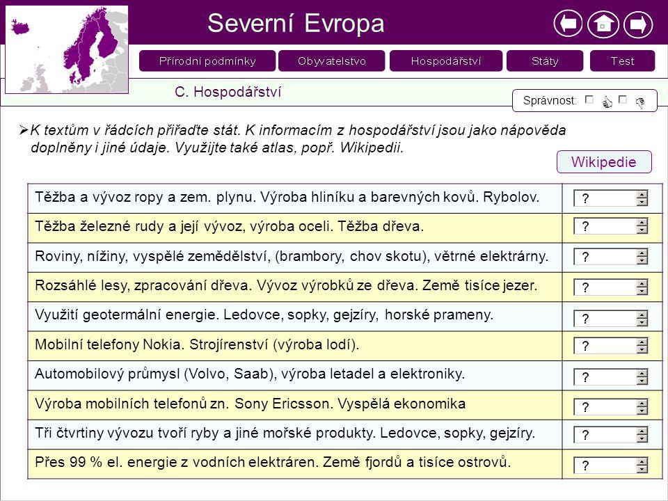 Severní Evropa C. Hospodářství Správnost:    K textům v řádcích přiřaďte stát. K informacím z hospodářství jsou jako nápověda doplněny i jiné údaje