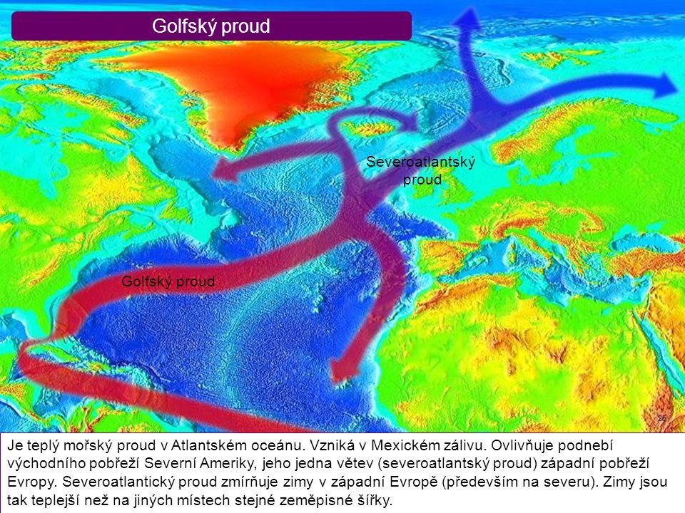 Golfský proud 25 Je teplý mořský proud v Atlantském oceánu. Vzniká v Mexickém zálivu. Ovlivňuje podnebí východního pobřeží Severní Ameriky, jeho jedna