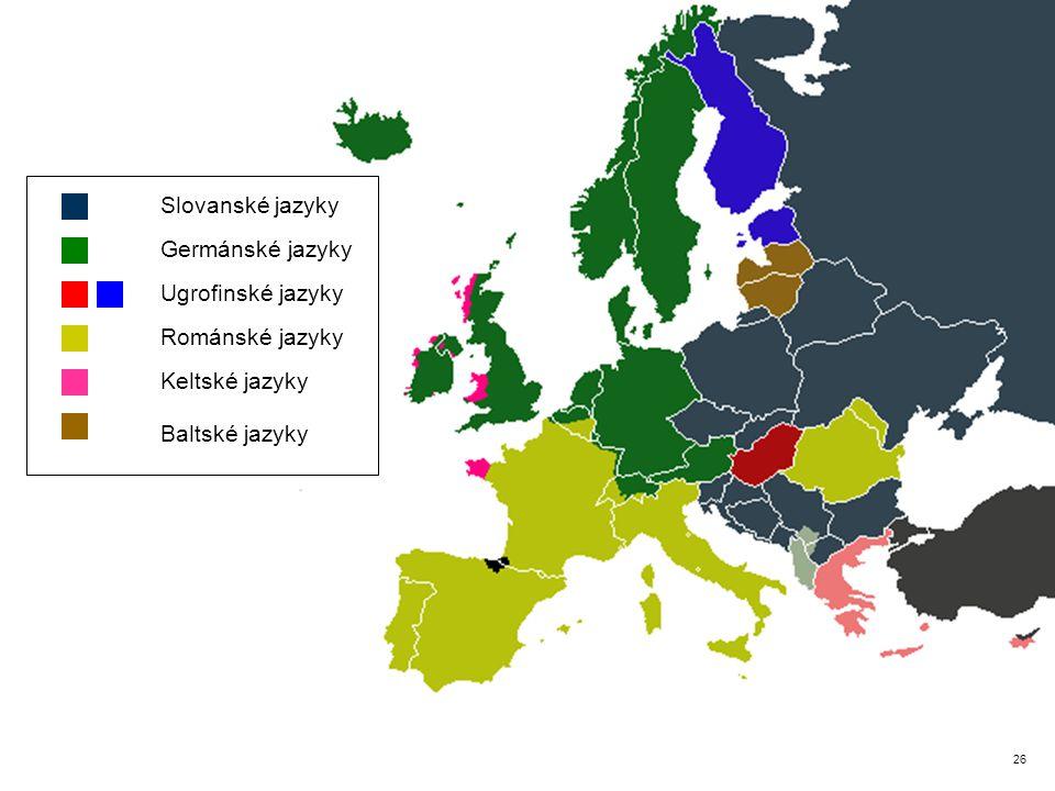 7 Ugrofinské jazyky Románské jazyky Keltské jazyky Baltské jazyky Germánské jazyky Slovanské jazyky 26