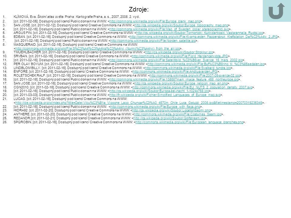 1.KLÍMOVÁ, Eva. Školní atlas světa. Praha : Kartografie Praha, a. s., 2007, 2008. 2. vyd. 2.[cit. 2011-02-05]. Dostupný pod licencí Public domain na W