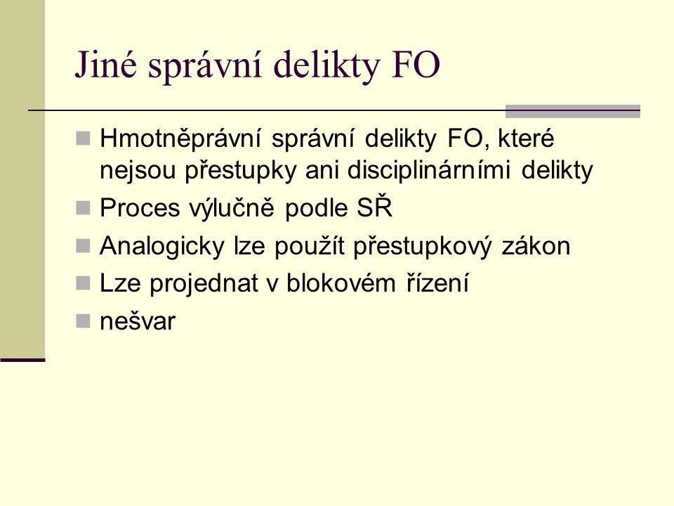 Jiné správní delikty FO Hmotněprávní správní delikty FO, které nejsou přestupky ani disciplinárními delikty Proces výlučně podle SŘ Analogicky lze pou