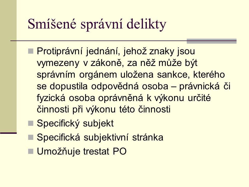 Smíšené správní delikty Protiprávní jednání, jehož znaky jsou vymezeny v zákoně, za něž může být správním orgánem uložena sankce, kterého se dopustila