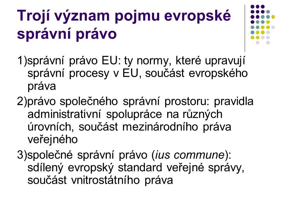 Trojí význam pojmu evropské správní právo 1)správní právo EU: ty normy, které upravují správní procesy v EU, součást evropského práva 2)právo společné