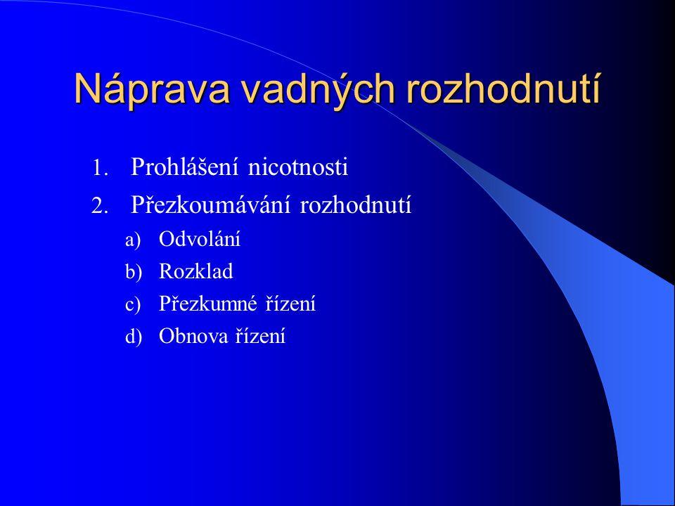 Náprava vadných rozhodnutí 1. Prohlášení nicotnosti 2. Přezkoumávání rozhodnutí a) Odvolání b) Rozklad c) Přezkumné řízení d) Obnova řízení