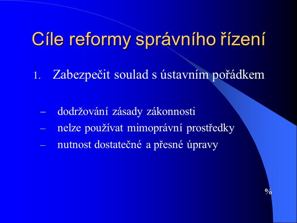 Cíle reformy správního řízení 1. Zabezpečit soulad s ústavním pořádkem  dodržování zásady zákonnosti – nelze používat mimoprávní prostředky – nutnost