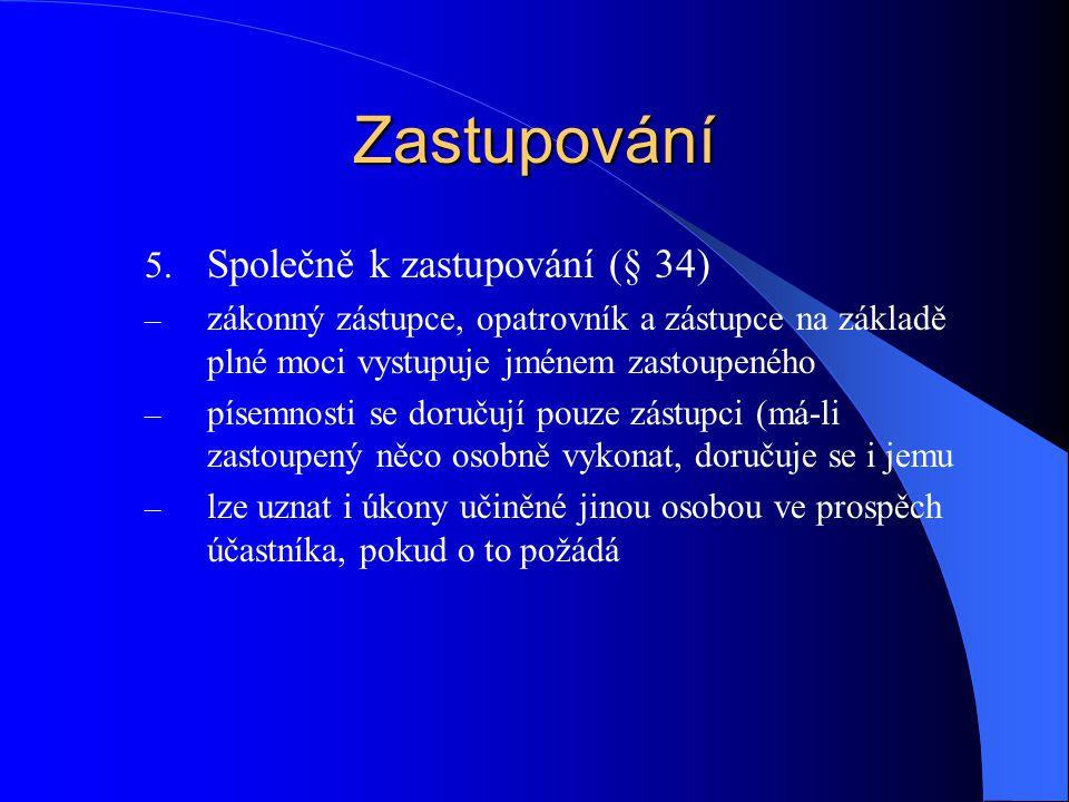 Zastupování 5. Společně k zastupování (§ 34) – zákonný zástupce, opatrovník a zástupce na základě plné moci vystupuje jménem zastoupeného – písemnosti