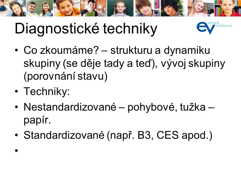 Diagnostické techniky Co zkoumáme? – strukturu a dynamiku skupiny (se děje tady a teď), vývoj skupiny (porovnání stavu) Techniky: Nestandardizované –