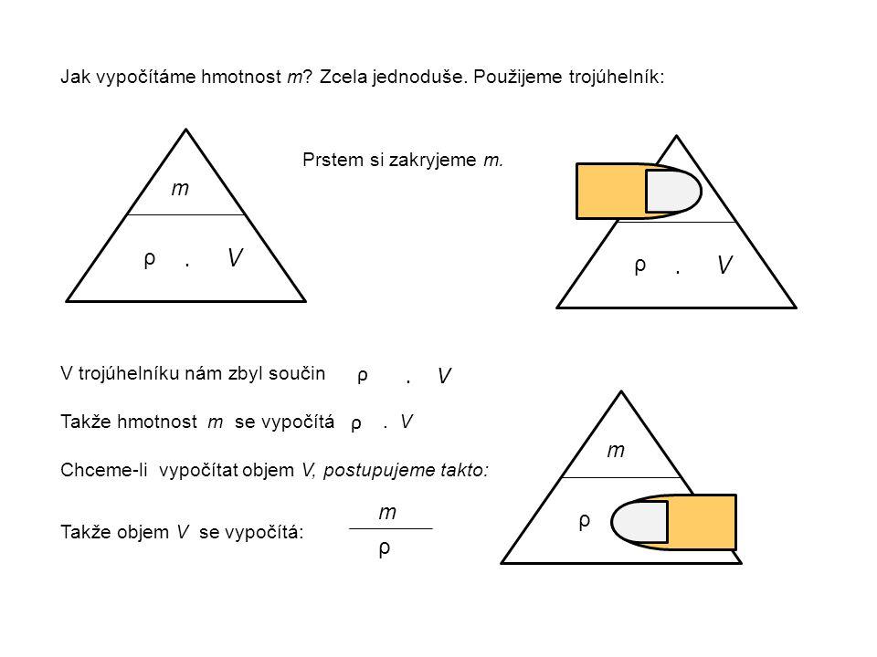 ρ m ρ Jak vypočítáme hmotnost m? Zcela jednoduše. Použijeme trojúhelník: Prstem si zakryjeme m. ρ m ρ. V V trojúhelníku nám zbyl součin ρ. V ρ Takže h