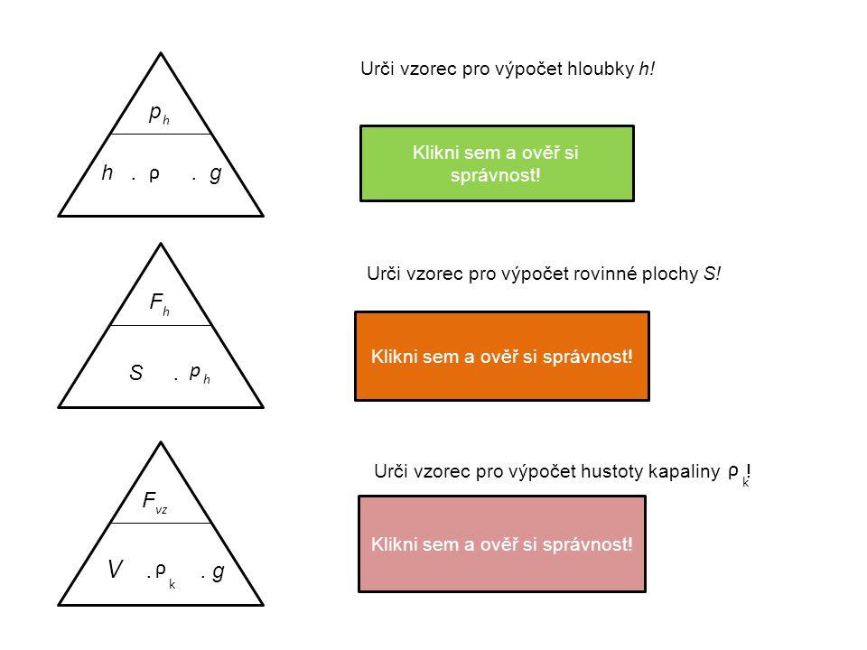 p h p h p h h.. g ρ Urči vzorec pro výpočet hloubky h! h = ρ. g Klikni sem a ověř si správnost! F h F h S. p h Urči vzorec pro výpočet rovinné plochy