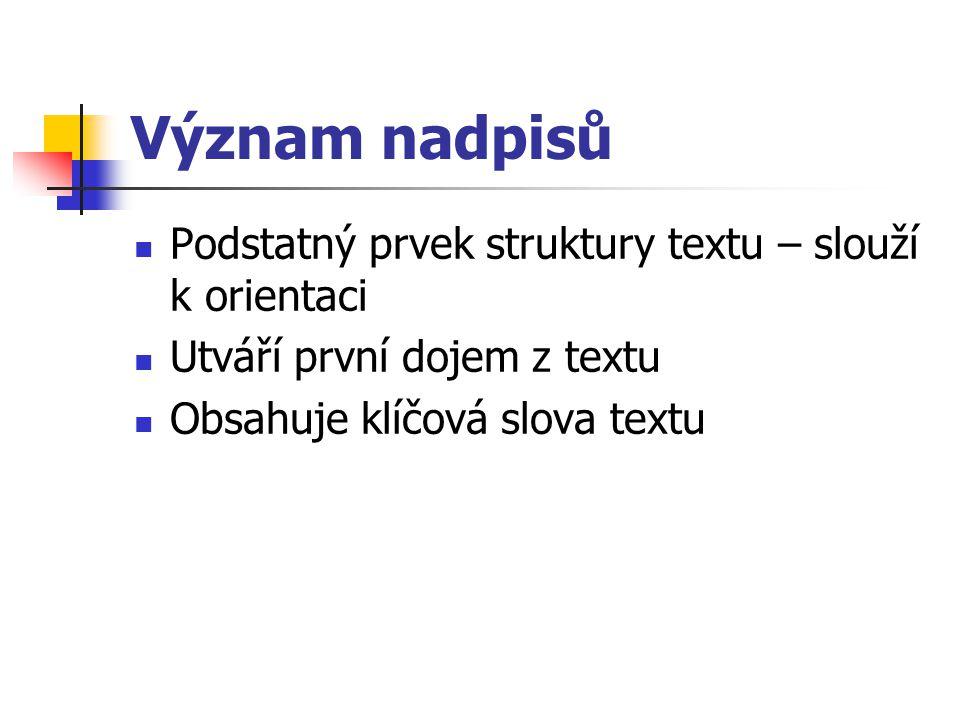 Význam nadpisů Podstatný prvek struktury textu – slouží k orientaci Utváří první dojem z textu Obsahuje klíčová slova textu