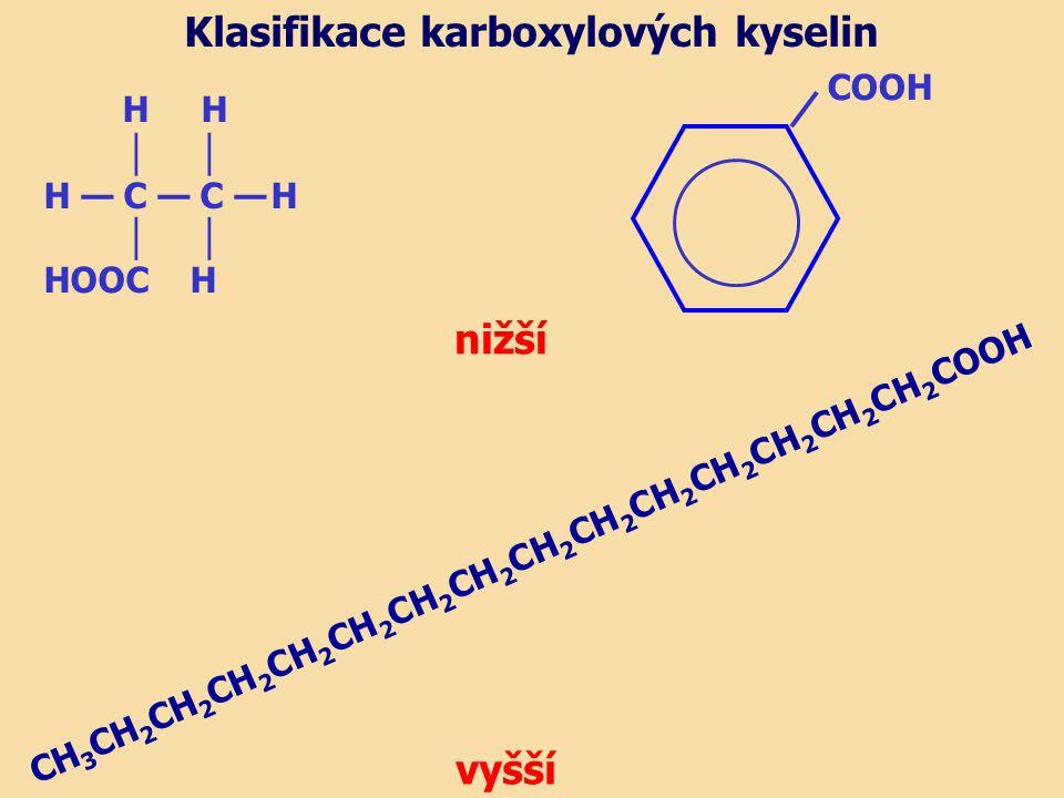 H H │ H — C — C — H │ HOOC H nižší Klasifikace karboxylových kyselin COOH vyšší CH 3 CH 2 CH 2 CH 2 CH 2 CH 2 CH 2 CH 2 CH 2 CH 2 CH 2 CH 2 CH 2 CH 2 CH 2 COOH