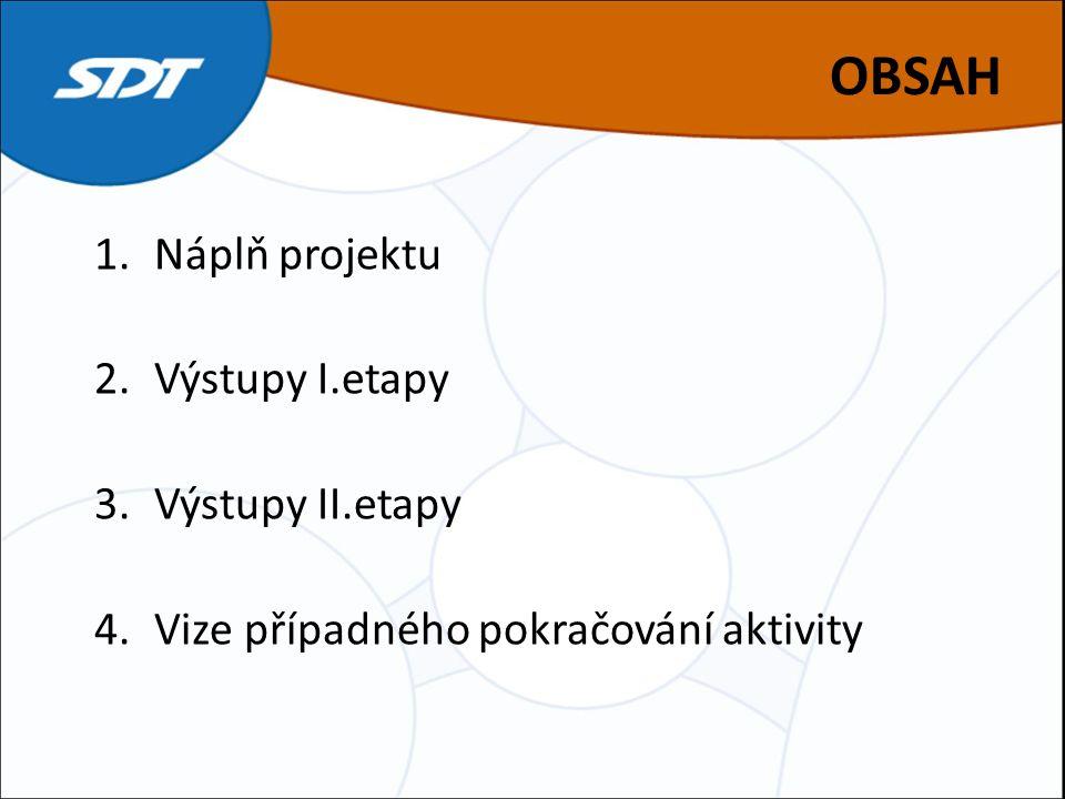 OBSAH 1.Náplň projektu 2.Výstupy I.etapy 3.Výstupy II.etapy 4.Vize případného pokračování aktivity