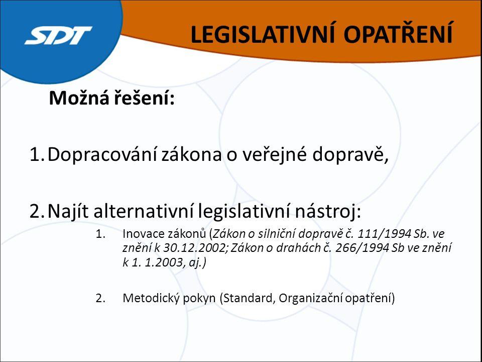 LEGISLATIVNÍ OPATŘENÍ Možná řešení: 1.Dopracování zákona o veřejné dopravě, 2.Najít alternativní legislativní nástroj: 1.Inovace zákonů (Zákon o silniční dopravě č.