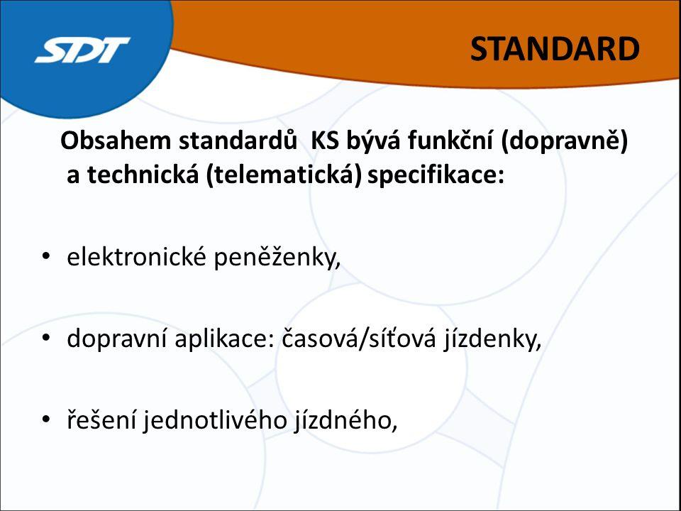 STANDARD Obsahem standardů KS bývá funkční (dopravně) a technická (telematická) specifikace: elektronické peněženky, dopravní aplikace: časová/síťová jízdenky, řešení jednotlivého jízdného,