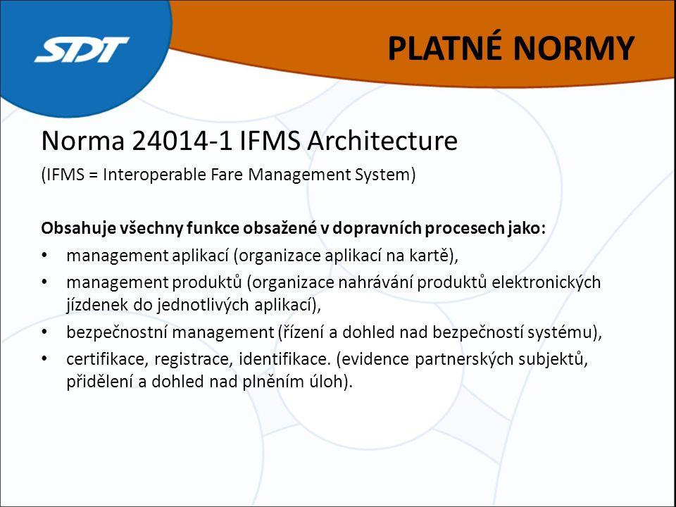 PLATNÉ NORMY Norma 24014-1 IFMS Architecture (IFMS = Interoperable Fare Management System) Obsahuje všechny funkce obsažené v dopravních procesech jako: management aplikací (organizace aplikací na kartě), management produktů (organizace nahrávání produktů elektronických jízdenek do jednotlivých aplikací), bezpečnostní management (řízení a dohled nad bezpečností systému), certifikace, registrace, identifikace.