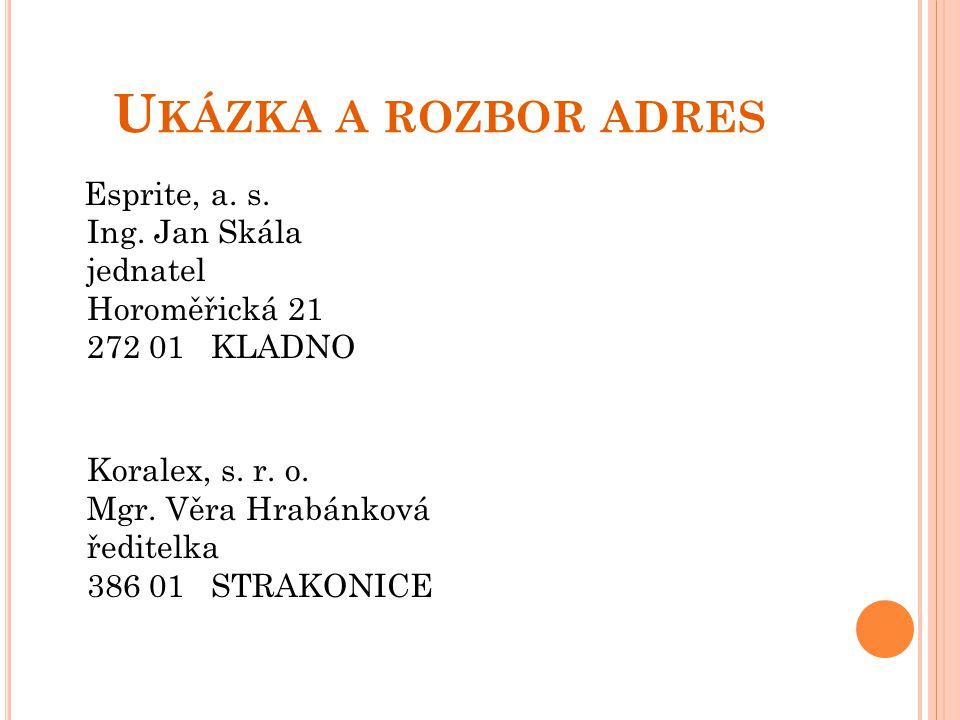 U KÁZKA A ROZBOR ADRES Esprite, a. s. Ing. Jan Skála jednatel Horoměřická 21 272 01 KLADNO Koralex, s. r. o. Mgr. Věra Hrabánková ředitelka 386 01 STR