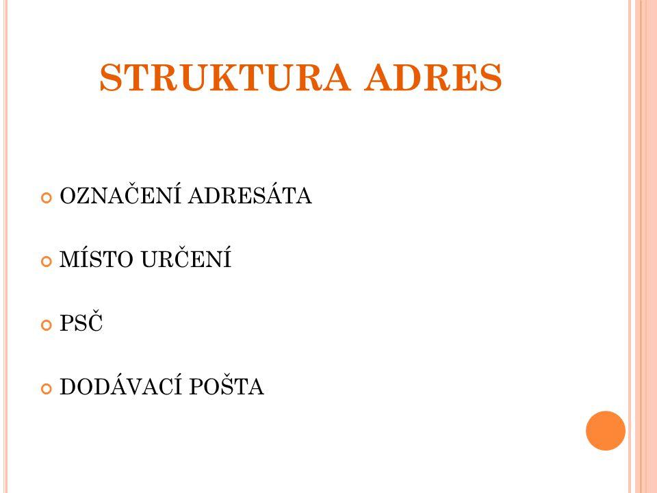SPRÁVNÉ ODPOVĚDI NA KONTROLNÍ OTÁZKY Nad adresní rámeček v jedné svislici s adresou.