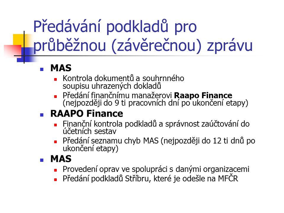Předávání podkladů pro průběžnou (závěrečnou) zprávu MAS Kontrola dokumentů a souhrnného soupisu uhrazených dokladů Předání finančnímu manažerovi Raapo Finance (nejpozději do 9 ti pracovních dní po ukončení etapy) RAAPO Finance Finanční kontrola podkladů a správnost zaúčtování do účetních sestav Předání seznamu chyb MAS (nejpozději do 12 ti dnů po ukončení etapy) MAS Provedení oprav ve spolupráci s danými organizacemi Předání podkladů Stříbru, které je odešle na MFČR