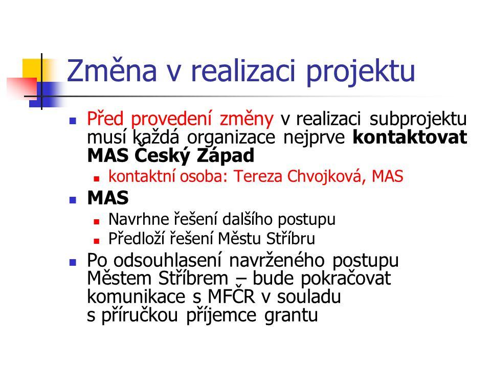 Změna v realizaci projektu Před provedení změny v realizaci subprojektu musí každá organizace nejprve kontaktovat MAS Český Západ kontaktní osoba: Ter