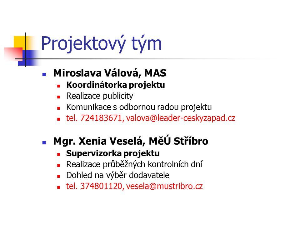 Projektový tým Miroslava Válová, MAS Koordinátorka projektu Realizace publicity Komunikace s odbornou radou projektu tel. 724183671, valova@leader-ces