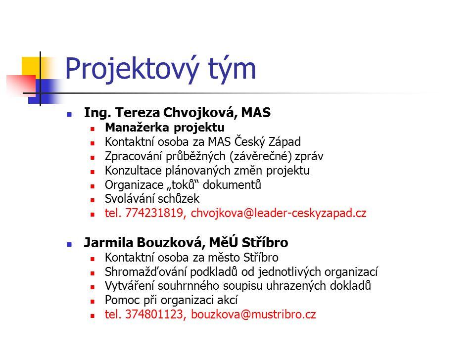 Projektový tým Ing. Tereza Chvojková, MAS Manažerka projektu Kontaktní osoba za MAS Český Západ Zpracování průběžných (závěrečné) zpráv Konzultace plá
