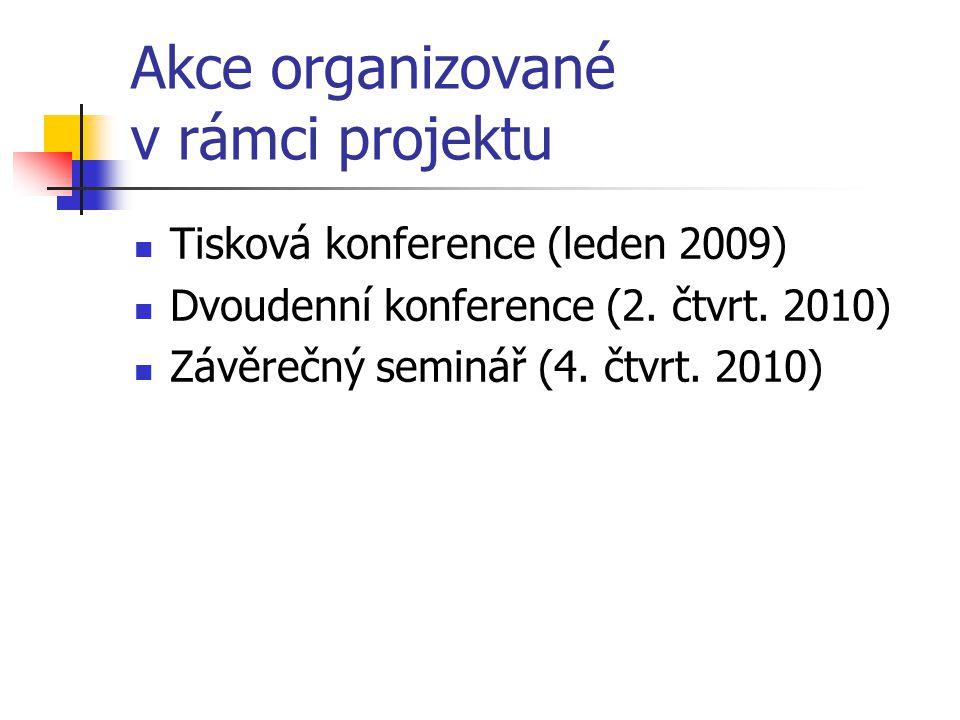 Akce organizované v rámci projektu Tisková konference (leden 2009) Dvoudenní konference (2. čtvrt. 2010) Závěrečný seminář (4. čtvrt. 2010)